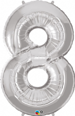 Number 8 Silver Super Shape Number Foil Balloon